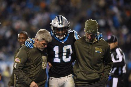 Nov 13, 2017; Charlotte, NC, USA; Carolina Panthers wide receiver Curtis Samuel (10) is helped off the field in the third quarter at Bank of America Stadium. Mandatory Credit: Bob Donnan-USA TODAY Sports