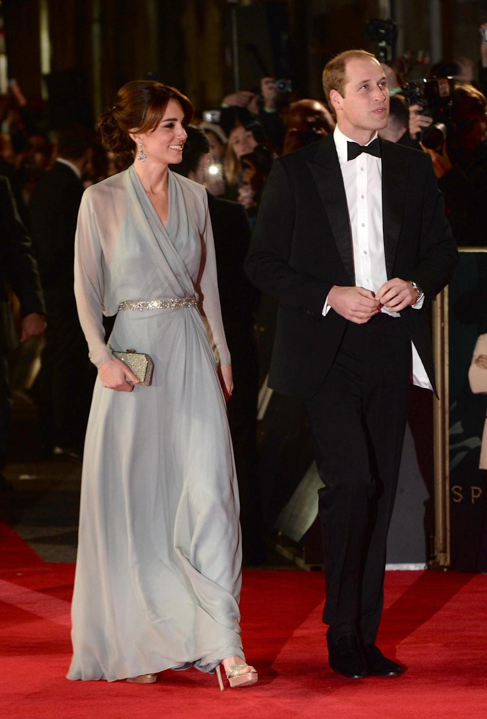 <p>Kate chose an exquisite Jenny Packham gown for the London premiere of James Bond film, <i>Spectre</i>. Created in a light blue hue complete with a glittering belt, her accessories included a sparkly clutch (also by Jenny Packham) and platform sandals by Jimmy Choo. </p><p><i>[Photo: PA]</i></p>