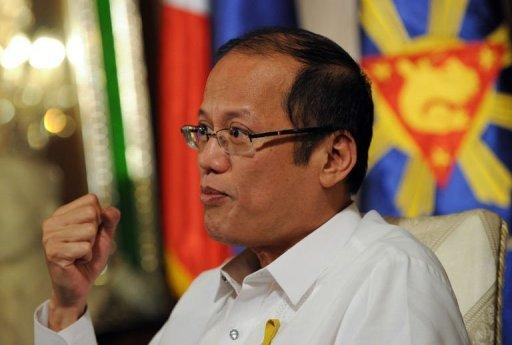Philippine President Benigno Aquino speaks during an interview with AFP
