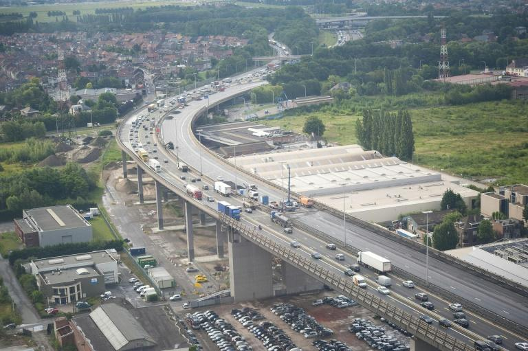 An arial view shows repair work on the Vilvoorde viaduct on the ring road in Brussels