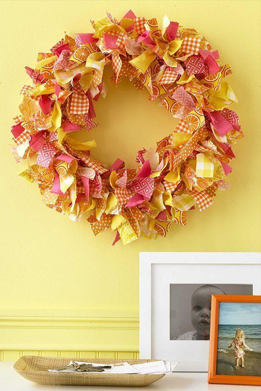 <p>Don't let your sewing scraps go to waste. Turn them into a colorful wreath to give them new life. </p>