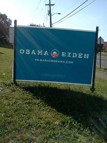 An Obama-Biden sign in Roanoke, Va. (Cheryl Preston)