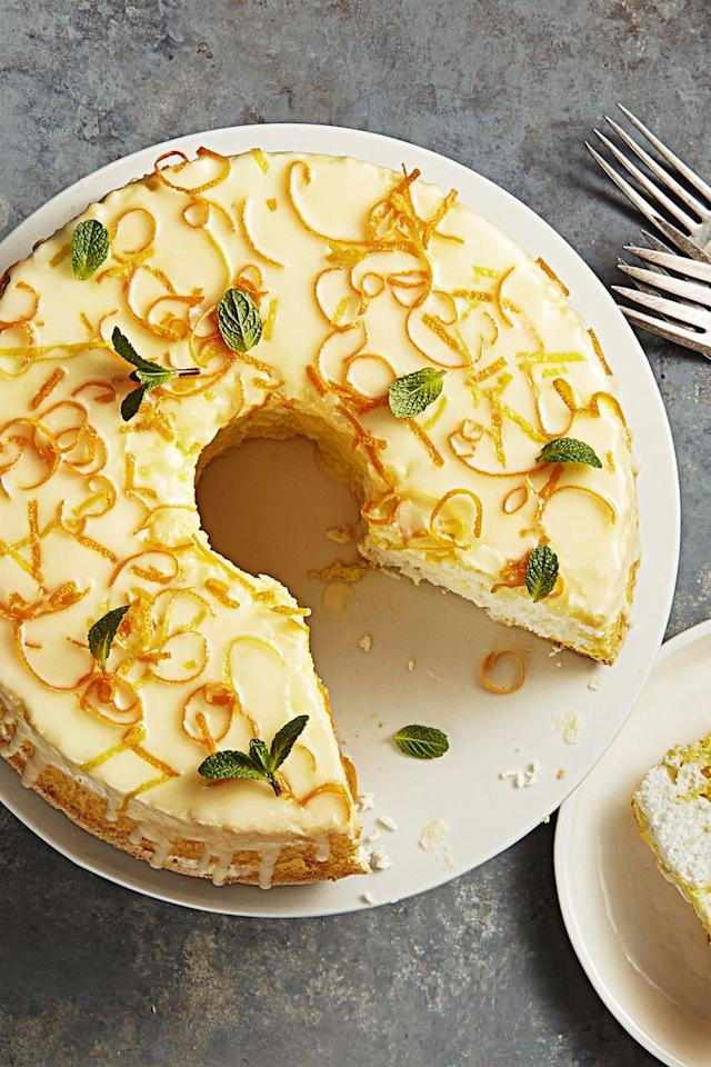 "<p>Give your baby shower a twist with this citrusy cake, topped with a gorgeous cream cheese glaze and garnished with orange peels. How fancy! </p><p><a rel=""nofollow"" href=""https://www.womansday.com/food-recipes/food-drinks/recipes/a13320/daffodil-cake/"">Get the recipe. </a></p>"