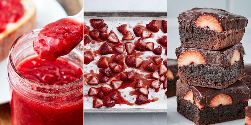 """<p>Strawberries are one of our favourite things. They're sweet, delicious and just nice to look at. Plus, they're a super versatile ingredient and can be used in various recipes. Whether you're after a staple <a href=""""http://www.delish.com/uk/cooking/recipes/a32485084/strawberry-jam-recipe/"""" rel=""""nofollow noopener"""" target=""""_blank"""" data-ylk=""""slk:Strawberry Jam"""" class=""""link rapid-noclick-resp"""">Strawberry Jam</a> recipe, an over-the-top <a href=""""http://www.delish.com/uk/cooking/recipes/a32485274/chocolate-covered-strawberry-brownies-recipe/"""" rel=""""nofollow noopener"""" target=""""_blank"""" data-ylk=""""slk:Chocolate Covered Strawberry Brownie"""" class=""""link rapid-noclick-resp"""">Chocolate Covered Strawberry Brownie</a> recipe (yes, really) or a simple <a href=""""http://www.delish.com/uk/cooking/recipes/a32484927/strawberry-tart-recipe/"""" rel=""""nofollow noopener"""" target=""""_blank"""" data-ylk=""""slk:Strawberry Tart"""" class=""""link rapid-noclick-resp"""">Strawberry Tart</a> recipe, we've got them all! We've also thrown in a few savoury strawberry recipes in there (you're going to love our <a href=""""http://www.delish.com/uk/cooking/recipes/a32484972/easy-strawberry-spinach-salad-recipe/"""" rel=""""nofollow noopener"""" target=""""_blank"""" data-ylk=""""slk:Strawberry Spinach Salad"""" class=""""link rapid-noclick-resp"""">Strawberry Spinach Salad</a>), so you've got plenty of choice! </p>"""