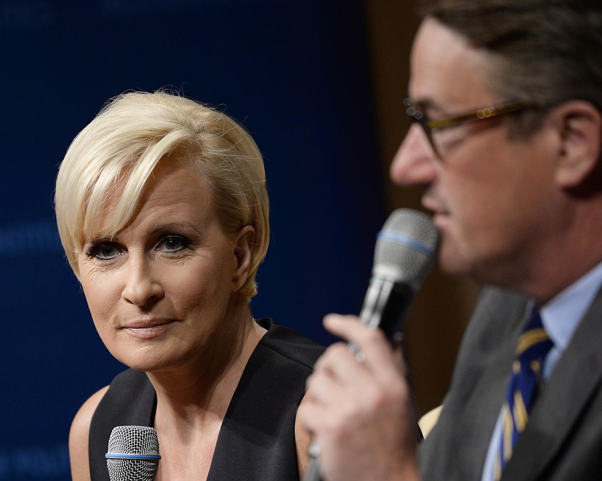 """WASHINGTON, DC - JULY 12:  Joe Scarborough and Mika Brzezinski take part in """"The David Rubenstein Show: Peer-To-Peer Conversations""""at The National Archives on July 12, 2017 in Washington, DC.  (Photo by Shannon Finney/WireImage)"""