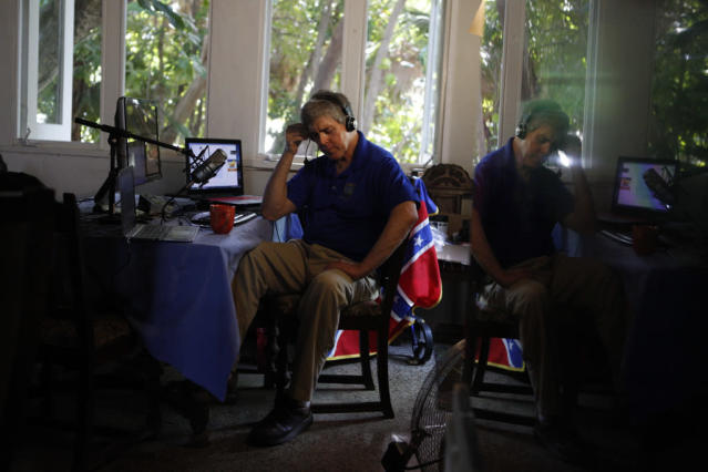 "White nationalist Don Black hosts the ""Don Black Stormfront"" radio show on July 3, 2015, in West Palm Beach, Fla. (Photo: Ryan Stone)"