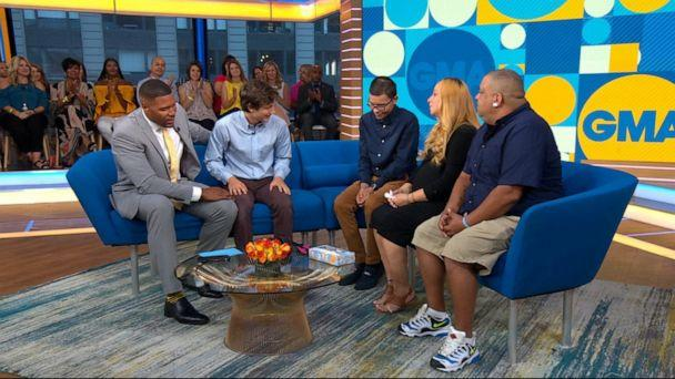 PHOTO: Abraham, 19, left, meets Chris, 21, and his parents, Luis and Christina on 'Good Morning America.' (ABC News)