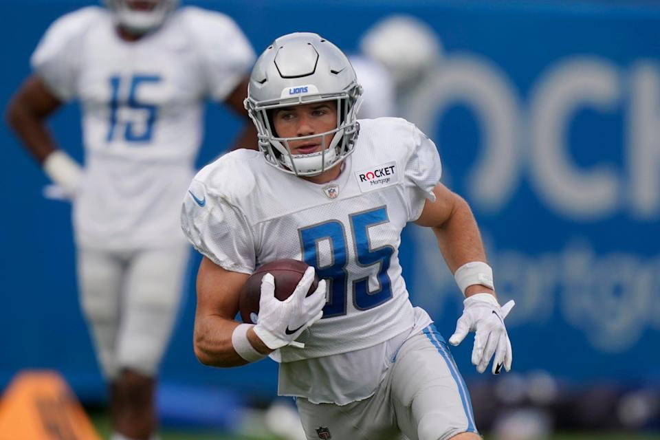 Detroit Lions receiver Tom Kennedy runs a drill at training camp, Saturday, Aug. 29, 2020, in Allen Park.