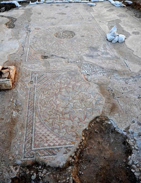Here, a huge mosaic with geometric patterns that dates back to the Byzantine Period and would have been used as the floor of a public building in what is today Kibbutz Bet Qama, in the B'nei Shimon region council in Israel.