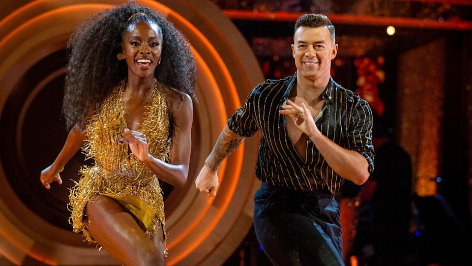 AJ Odudu and Kai Widdrington topped the leader board with their Jive. (BBC)