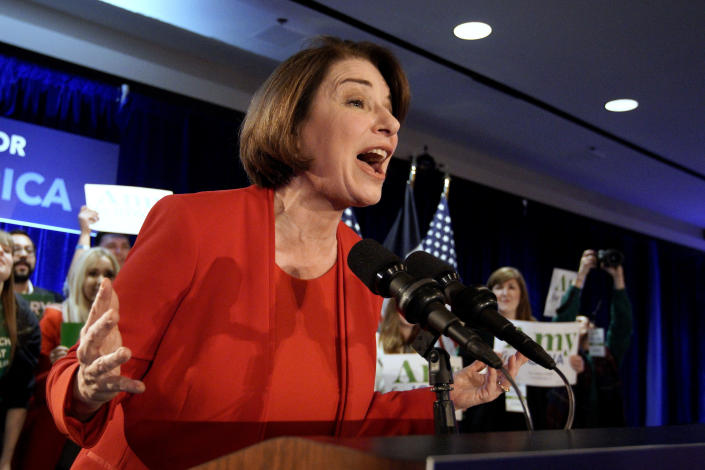 Democratic presidential candidate Sen. Amy Klobuchar, D-Minn., speaks to supporters at her caucus night campaign rally in Des Moines, Iowa, Monday, Feb. 3, 2020. (AP Photo/Nati Harnik)