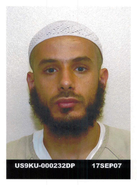 "This Sept. 17, 2007 photo released on Aug. 13, 2013 by defense lawyer U.S. Air Force Lt. Col. Barry Wingard, detainee Fawzi al-Odah, 36, is shown in Guantanamo Bay U.S. Naval Base. Fawzi al-Odah is a Kuwaiti who has been held for more than 11 years at the Guantanamo Bay prison. The Pentagon says the roughly 50 men in the indefinite detention category are held under international laws of war until the ""end of hostilities,"" whenever that may be. As a group, they are one of the chief hurdles to President Barack Obama's attempts to close the detention center on the U.S. base in Cuba. (AP Photo/Courtesy of defense lawyer Barry Wingard)"
