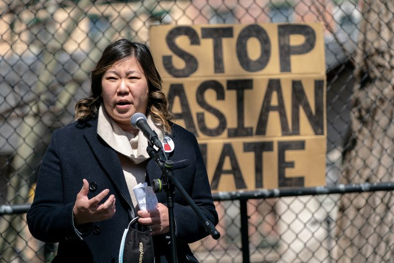 FILE PHOTO: Congresswoman Grace Meng speaks during a Stop Asian Hate rally at Columbus Park in New York