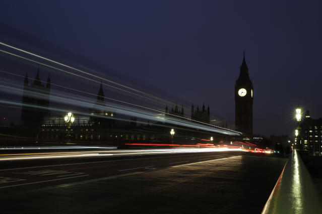 Traffic passes over Westminster Bridge. Employment figures suffered a sharp decline in the three months to the end of September. Photo: Alastair Grant/AP