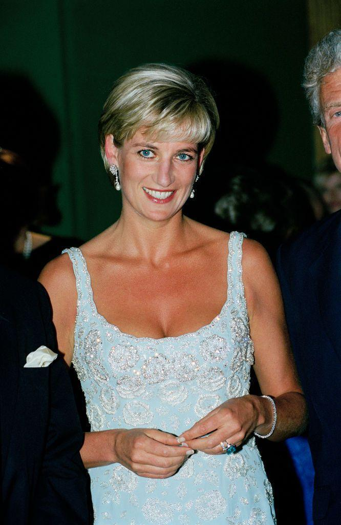 <p>The ice blue strapless mini dress that Princess Diana wore to a private viewing at Christie's Auction House in 1997 reminds us of <em>Frozen'</em>s ice queen.  </p>