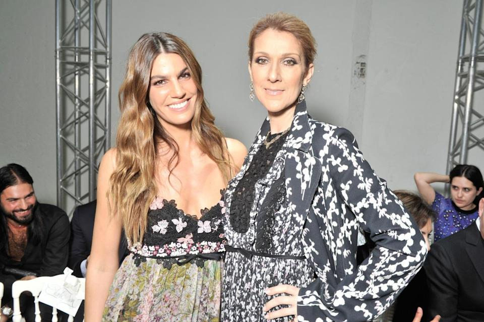 <p>Bianca Brandolini D'Adda and Celine Dion looked very chummy on the Valli FROW. <i>[Photo:Swan Gallet/WWD/REX/Shutterstock]</i></p>