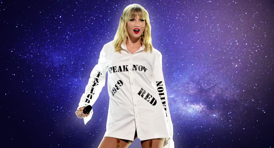 Taylor Swift makes a statement during her performance at the 2019 AMAs