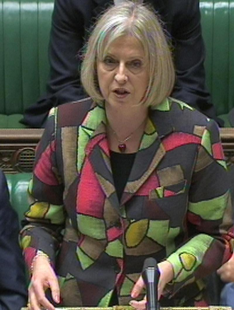 "Britain's Home Secretary Theresa May speaks in the House of Commons, London, following a Counter-terrorism review in this image taken from TV Wednesday Jan. 26, 2011. Home Secretary Theresa May published a review of the country's tough anti-terrorism laws, which acknowledged some powers had been ""out of step with other Western democracies."" Britain's anti-terrorism policies have long been considered one of the toughest in the West, allowing police to hold suspected terrorists for up to 28 days before they must be charged or released. In contrast, U.S. authorities have only seven days and French police only six.  (AP Photo/PA) UNITED KINGDOM OUT"