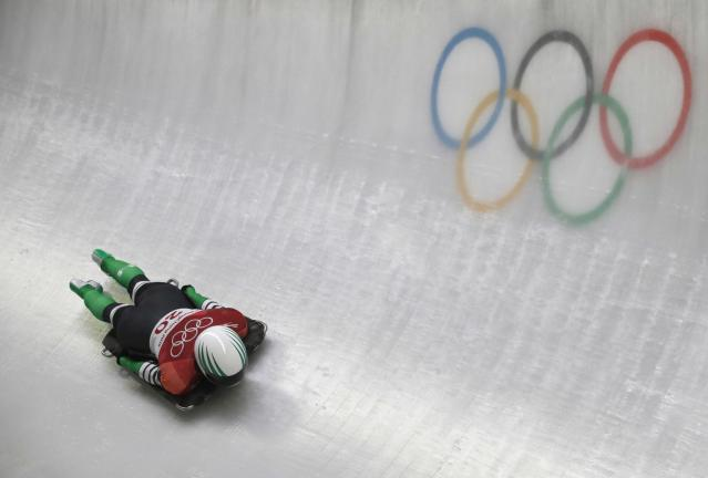 Skeleton - Pyeongchang 2018 Winter Olympics – Women's Finals - Olympic Sliding Center - Pyeongchang, South Korea – February 17, 2018 - Simidele Adeagbo of Nigeria in action. REUTERS/Arnd Wiegmann