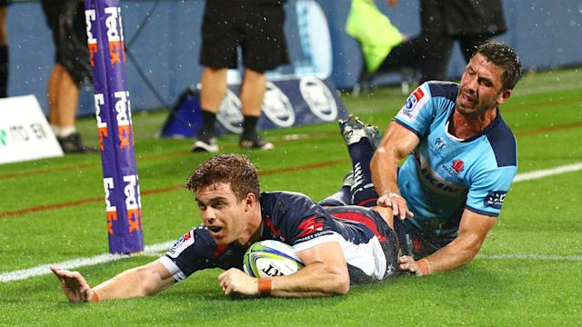 Andrew Kellaway scored two tries against his former club, the Waratahs, to give the Rebels a valuable win in Melbourne.