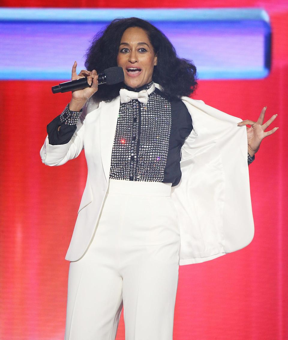 Tracee Ellis Ross speaks onstage at the 2017 American Music Awards