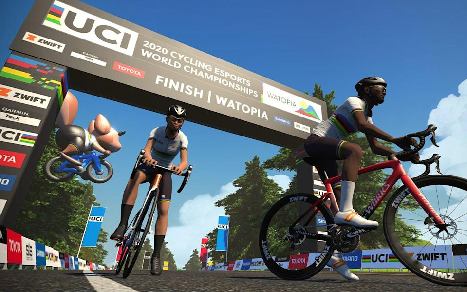 Ashleigh Moolman Pasio wins cycling's first world title contested in the virtual world