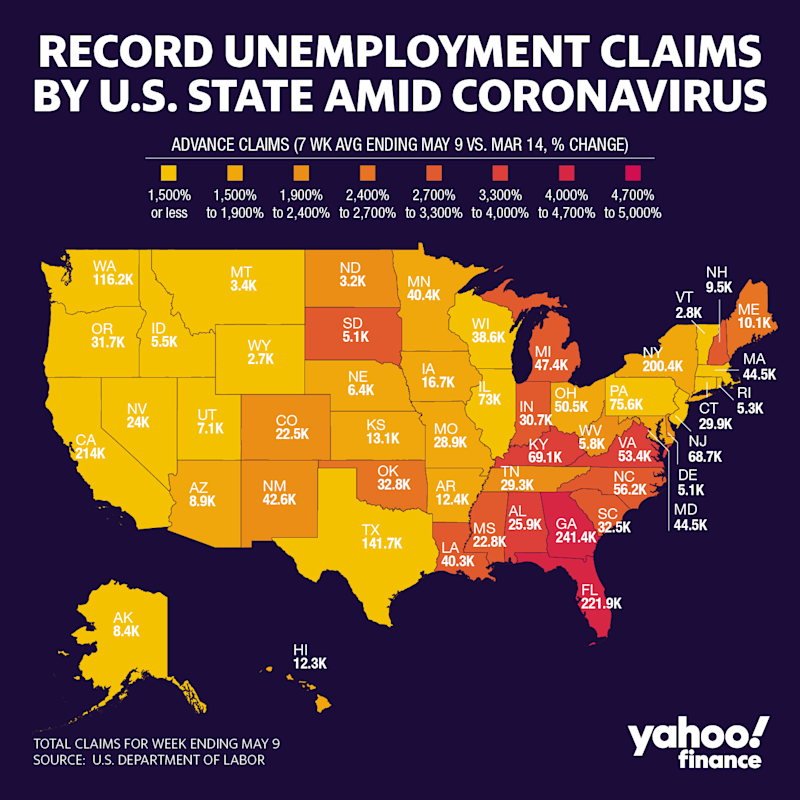Record unemployment claims by U.S. state amid coronavirus
