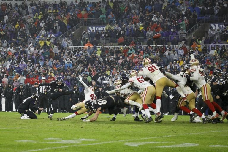 Baltimore's Justin Tucker kicks the game-winning field goal in the Ravens 20-17 NFL victory over the San Francisco 49ers