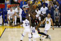 Serge Ibaka #9 of the Toronto Raptors attempts a shot against the Golden State Warriors in the first half during Game Three of the 2019 NBA Finals at ORACLE Arena on June 05, 2019 in Oakland, California. (Photo by Lachlan Cunningham/Getty Images)