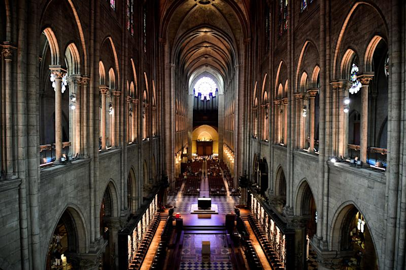 Inside of the Notre Dame cathedral in Paris.