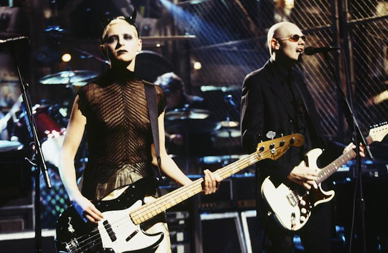 D'Arcy Wretzsky performing with Billy Corgan as The Smashing Pumpkins in 1998: Getty