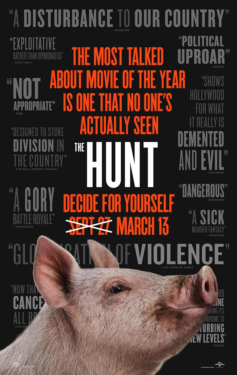 The new poster for The Hunt makes light of its date change. (Universal Pictures)