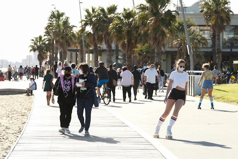 Melburnians exercise in St Kilda on Sunday. Source: Getty
