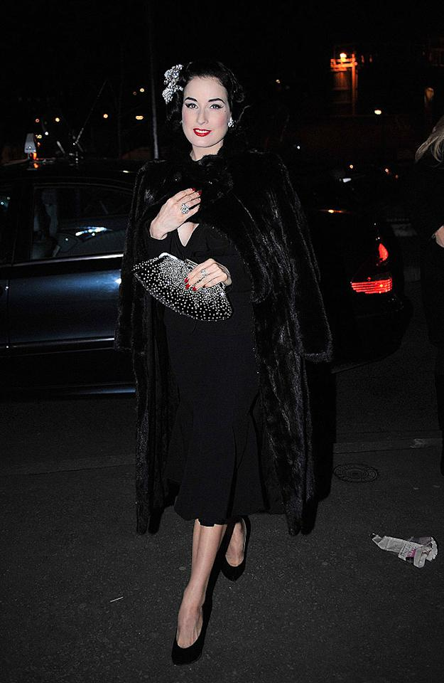 "Burlesque star-turned-fashion icon Dita Von Teese was back in Paris to perform at the infamous Crazy Horse revue. A/<a href=""http://www.x17online.com"" target=""new"">X17 Online</a> - January 21, 2009"