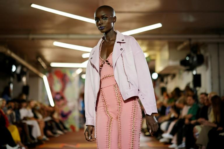 A model presents a creation from British designer Mark Fast's Spring/Summer 2022 collection on the first day of London Fashion Week in London on Friday (AFP/Tolga Akmen)
