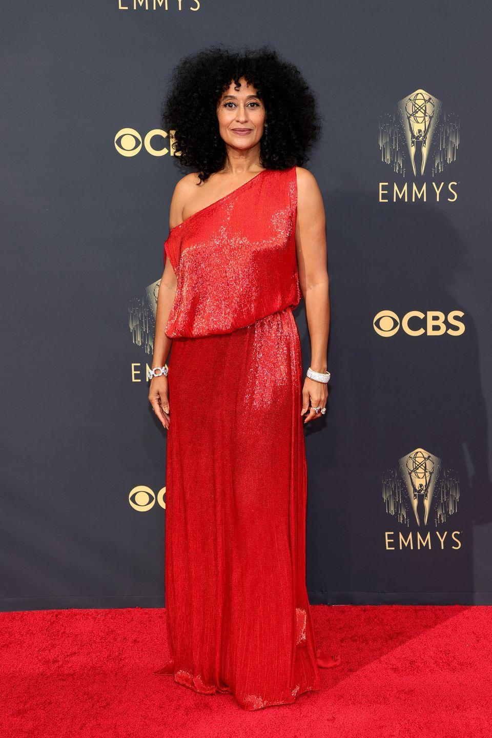 <p><strong>What:</strong> Valentino Haute Couture</p><p><strong>Why: </strong>Ellis Ross is a '70s inspired goddess in a flowing, sparkling one-shoulder creation in signature Valentino red. It's a silhouette reminiscent of Studio 54, through the lens of Haute Couture.</p>