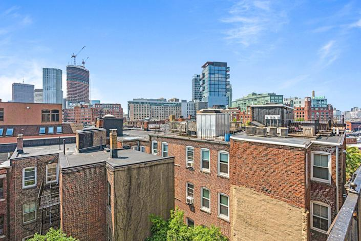 A view of Boston from the rooftop on a clear day.
