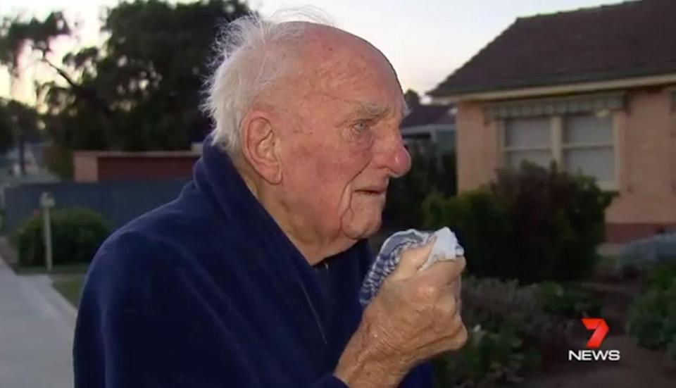 """An elderly man has broken down in tears speaking about his """"neighbour and mate"""" allegedly bashed to death. Photo: 7 News"""