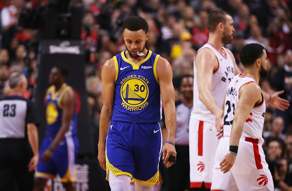 A big game from Stephen Curry wasn't nearly enough for the Warriors in Game 1. (Getty)