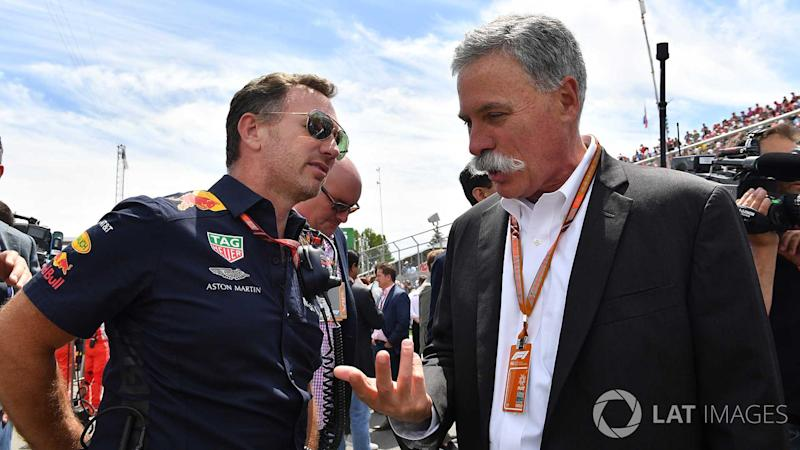 Christian Horner and Chase Carey at Canadian GP 2018