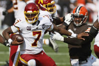 Washington Football Team quarterback Dwayne Haskins (7) scrambles during the second half of an NFL football game against the Cleveland Browns, Sunday, Sept. 27, 2020, in Cleveland. (AP Photo/Ron Schwane)