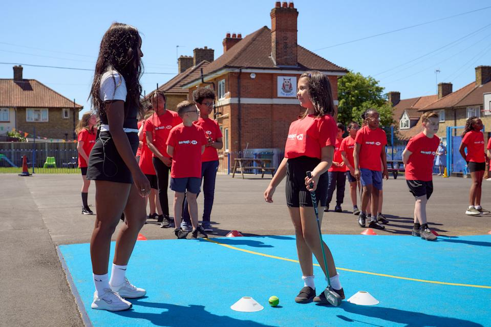 Bennett, 26, was reunited with her old coach Chris Jenkins at Valence Primary School this month