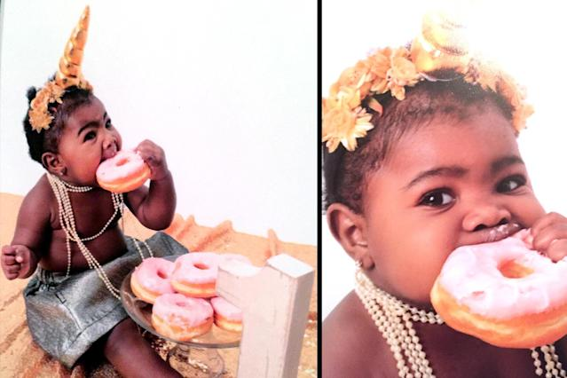 Nyla Brown enjoying donuts during her unicorn birthday photoshoot. (Photo: Picture People)