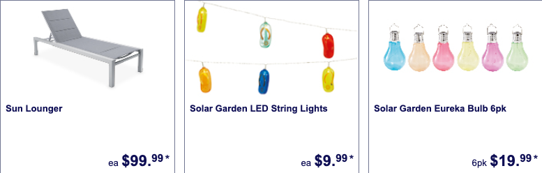Outdoor party accessories selling as Special Buys at Aldi.