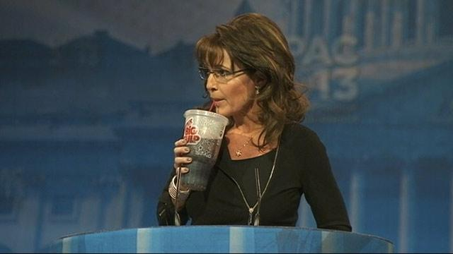 Sarah Palin Compares Obama to Bernie Madoff, Sips From a Big Gulp