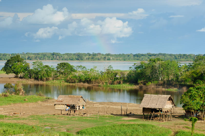 Amazonas landscape. The photo present typical indian tribes , Brazil