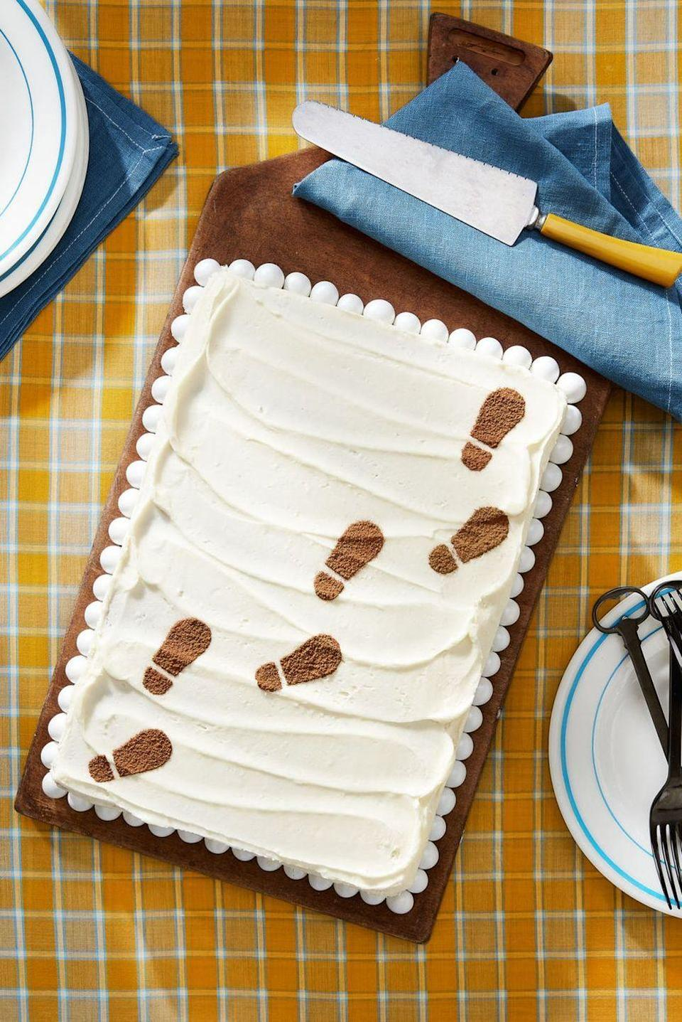 """<p>Sifted cocoa powder tracks make this easy vanilla cake perfect for a murder-mystery Halloween party.</p><p><em><a href=""""https://www.countryliving.com/food-drinks/recipes/a44611/malted-sheet-cake-recipe/"""" rel=""""nofollow noopener"""" target=""""_blank"""" data-ylk=""""slk:Get the recipe from Country Living »"""" class=""""link rapid-noclick-resp"""">Get the recipe from Country Living »</a></em></p><p><strong>RELATED: </strong><a href=""""https://www.goodhousekeeping.com/holidays/halloween-ideas/g565/halloween-party-ideas/"""" rel=""""nofollow noopener"""" target=""""_blank"""" data-ylk=""""slk:80 Fun and Creepy Ideas for a Halloween Party to Remember"""" class=""""link rapid-noclick-resp"""">80 Fun and Creepy Ideas for a Halloween Party to Remember</a><br></p>"""
