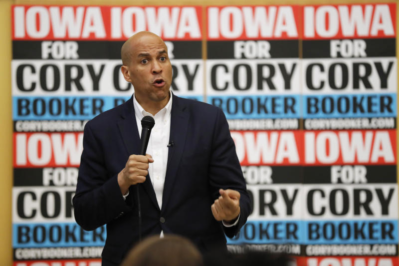 Democratic presidential candidate Sen. Cory Booker speaks during an Iowa Democratic Party Black Caucus Reception, Tuesday, April 16, 2019, in Des Moines, Iowa. (AP Photo/Charlie Neibergall)