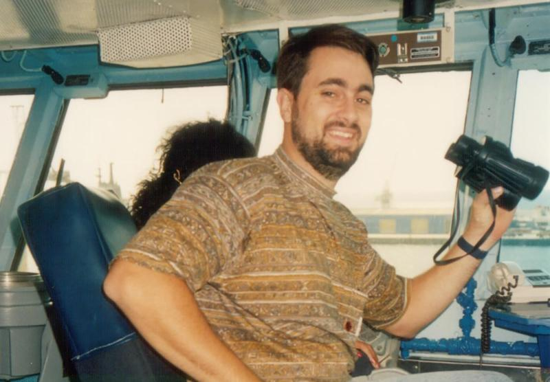 A supplied image obtained shows alleged Claremont serial killer Bradley Robert Edwards sitting in a boat. Source: AAP Image/Supplied by the Western Australian Supreme Court