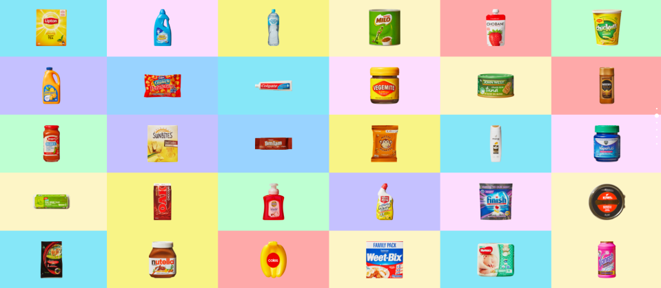The Coles mini collectables include a Nutella jar, Weetbix and Vegemite. Source: Coles
